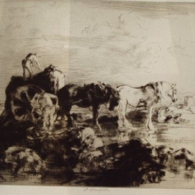 Seaweed Harvest, Jersey by Edmund Blampied, 1936 Etching