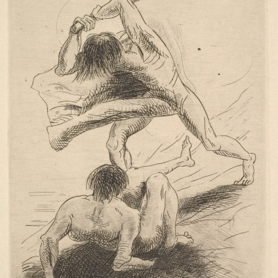 Cain and Abel by Odilon Redon,1886 Etching