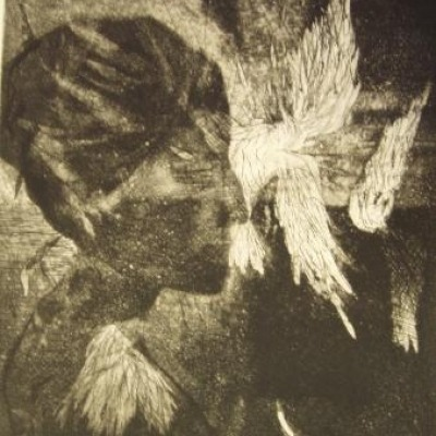 Wings of a Dove by Chaim Koppelman, 1959 Aquatint Etching