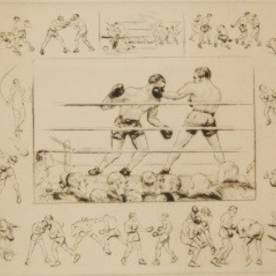 Boxing by Diana Thorn, Etching 1938