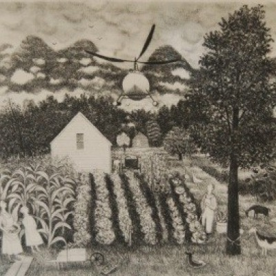 Helicopter by Doris Lee, Lithograph 1948