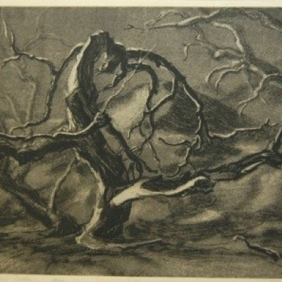 Drought Stricken Willow by Dwight Kirsch, Etching 1936