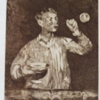 Boy Blowing Bubbles by Edouard Manet, Etching 1868-69
