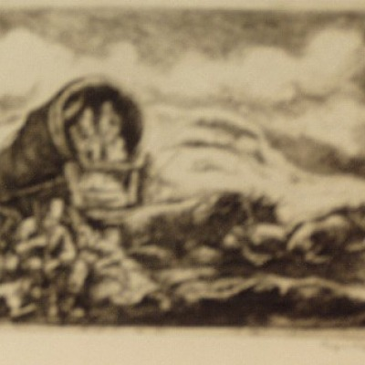 Pioneers Resting by Eugene Higgins, 1937 Etching