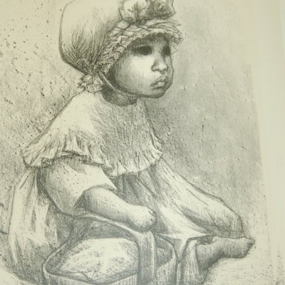 La Nina Con Canasta by Fanny Rabel, Lithograph 1971