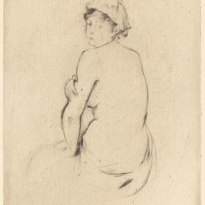 Femme Nu De Dos by Berthe Morisot,1889 Etching
