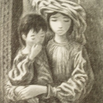 Arab Children by Fletcher Martin, 1946 Lithograph