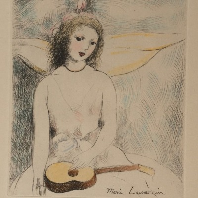 Girl with Mandolin by Marie Laurencin, Undated Etching