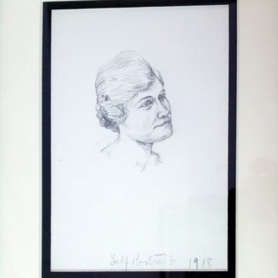 Self Portrait by Gladys M. Lux, Pencil Drawing 1918