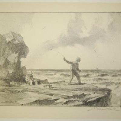 Rock Fisherman by Gordon Grant, Lithograph 1953