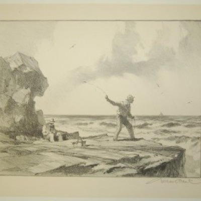 Rock Fisherman by Gordon Grant, Lithograph 1953