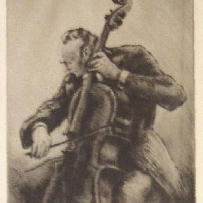 The Cellist by Grant Reynard, Drypoint Etching 1945