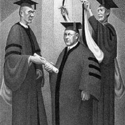 Honorary Degree by Grant Wood, 1938 Lithograph