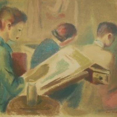 The Art Class by Guy Pene Du Bois, Silk Screen 1943