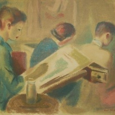 The Art Class by Guy Pene Du Bois, Silk Screen 1943