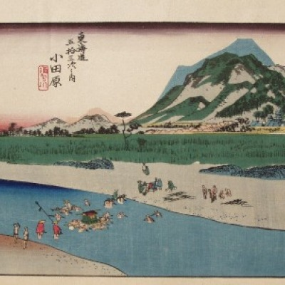 Crossing the Sakawa River by the City of Odawara by Hiroshige Andō, Woodcut