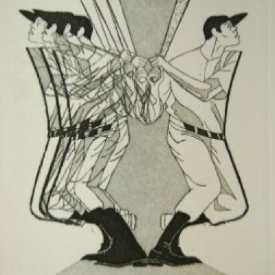 Home Run by Stanley Kaplan, Etching 1972