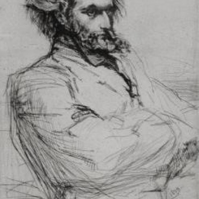 Drouet the Sculpteur by James McNeil Whistler, Etching 1859