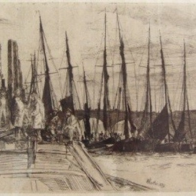 Billingsgate by James McNeil Whistler, Etching 1859