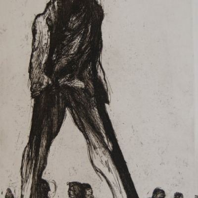 Man on Stilts by James Kearns, 1968 Etching