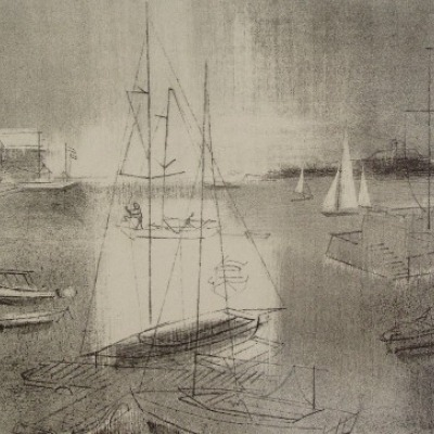 Harbor Sails by Joe Jones, Lithograph 1955
