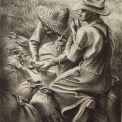 Missouri Wheat Farmers by Joe Jones, 1938 Lithograph