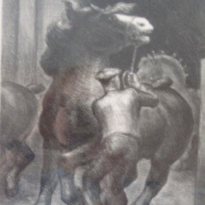 Prize Stallions by John Steuart Curry, Lithograph 1938