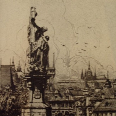 View from Charles IV Bridge of Prague by John C. Vondrous, 1938 Etching