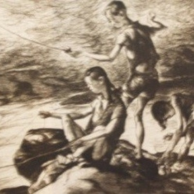 Fishermen Three by John Costigan, Etching 1938