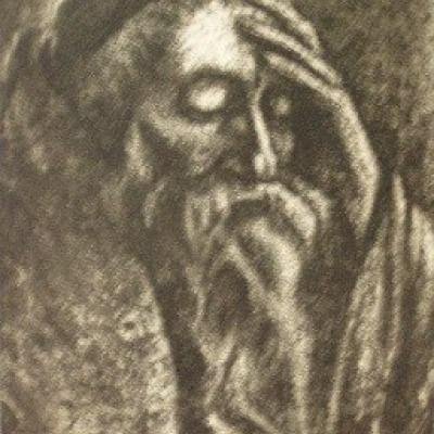 Scribe Meditating by Joseph Margulies, Aquatint Etching 1939