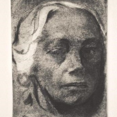 Self Portrait by Kathe Kollwitz, Etching 1912