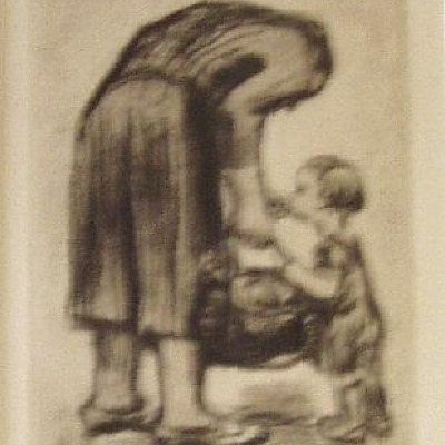 Mother Feeding Child by Kathe Kollwitz, Etching 1931