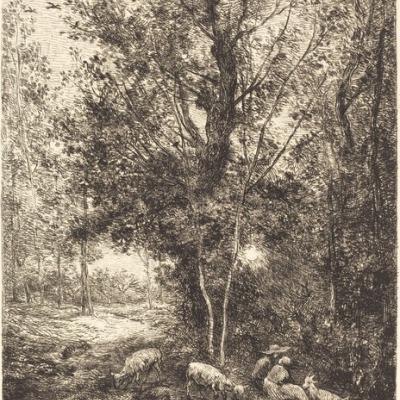 Le Berger et la Bergère Charles François by Daubigny,1874 Etching