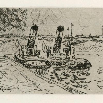 Le Pont des Arts by Paul Signac, 1927 Etching