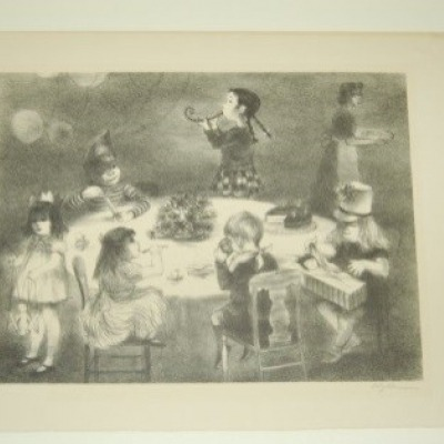 Birthday Party by Lily Harmon, Lithograph 1945