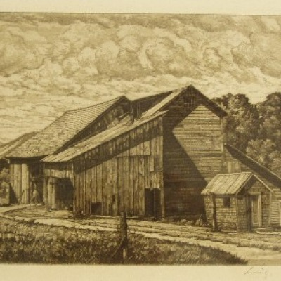 Weathered Barns by Luigi Lucioni, 1948 AAA Etching