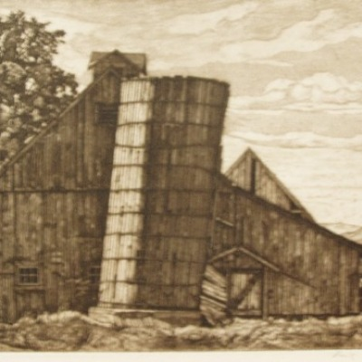 On A Vermont Highway by Luigi Lucioni, 1963 Etching