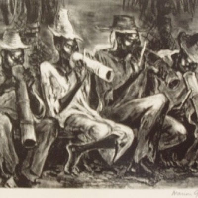 Haitian Musicians by Marion Greenwood, 1953 Lithograph