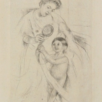 Looking into the Hand-mirror III by Mary Cassatt, c. 1905 Drypoint Etching