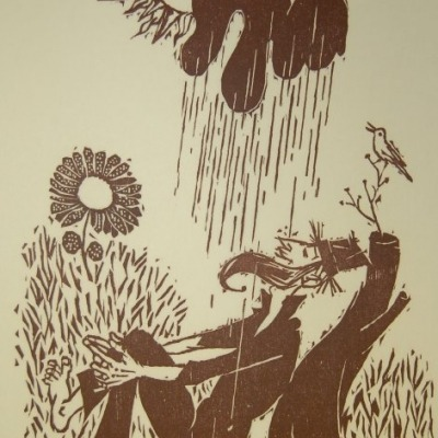 Philosopher's Happy Sun Shower by Morton Garchik, Brown Ink Woodcut 1972