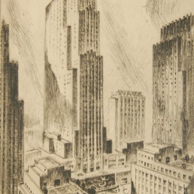 Rockefeller Center by Nat Lowell, Etching