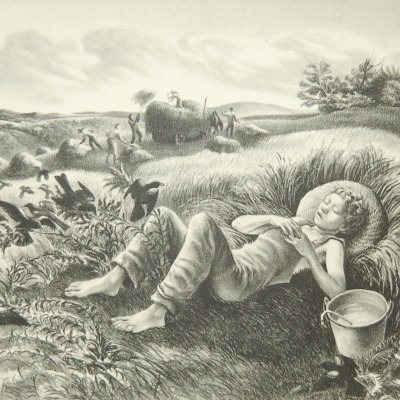 Chore Boy by John de Martelly, 1942 Lithograph