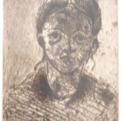 Portrait of a Young Girl by Paul Cezanne, Etching 1873