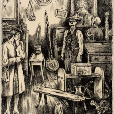 The Antique Shop by Peggy Bacon, 1944 Lithograph