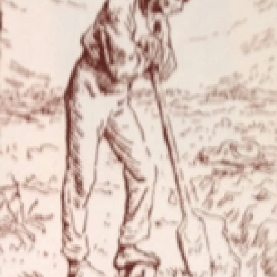 Man Leaning on a Spade by Jean-François & Pierre Millet; 1874 Woodcut