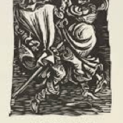 Mephistopheles mit der Alten (The Demon with the Old) by Ernst Barlach; 1922 Woodcut