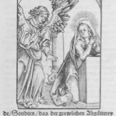 Annunciation by Lucas Cranach; 1548 Wood Engraving