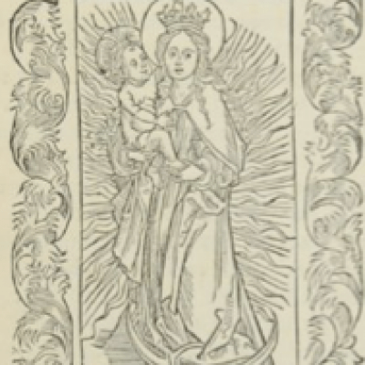 Virgin Mary in the Sun by Albrecht Dürer, 1494 Woodcut