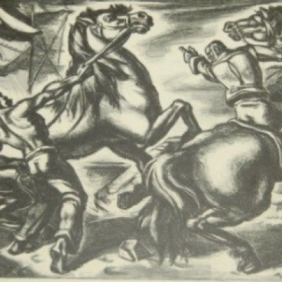 Frightened Horses by Umberto Romano,1948 Lithograph