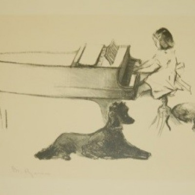 Child at Piano by Margery Ryerson Lithograph Undated